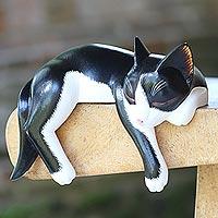 Wood sculpture, 'Tuxedo Catnap' - Balinese Signed Hand-Carved Sleeping Tuxedo Cat Sculpture