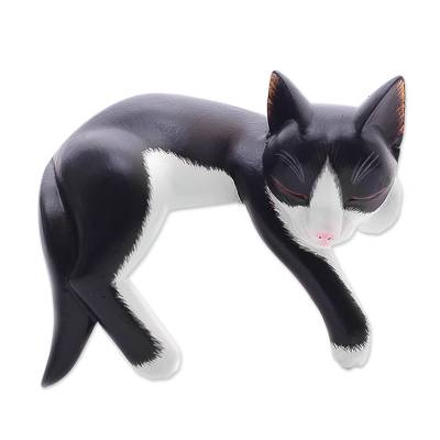 Balinese Signed Hand-Carved Sleeping Tuxedo Cat Sculpture