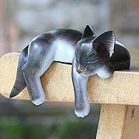 Wood sculpture, 'Catnap' - Hand Crafted Dark Grey Sleeping Kitty Cat Sculpture