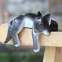 Wood sculpture, 'Catnap'