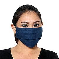 Cotton face masks 'Elastic Blue' (set of 5) - Set of 5 Double Layer Blue Cotton Elastic Loop Face Masks