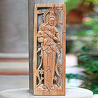 Wood wall relief panel, 'Goddess and Child' - Goddess and Infant Wood Wall Relief Art Panel