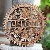 Wood relief welcome sign, 'Welcome Sun'