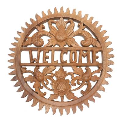 Wood relief welcome sign, 'Welcome Sun' - Hand Carved Round Wood Welcome Sign