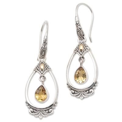 Citrine Dangle Earrings Accented with 18k Gold