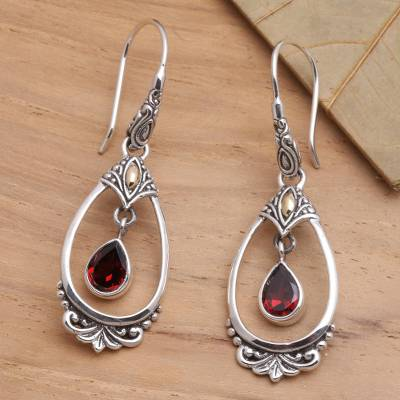Gold-accented garnet dangle earrings, Victoriana