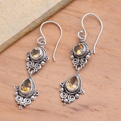 Citrine dangle earrings, 'Traditional Ways' - Balinese Style Citrine and Silver Dangle Earrings