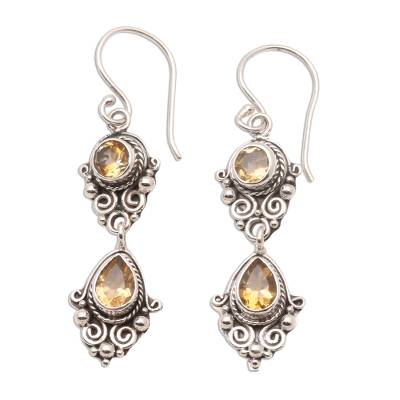 Balinese Style Citrine and Silver Dangle Earrings