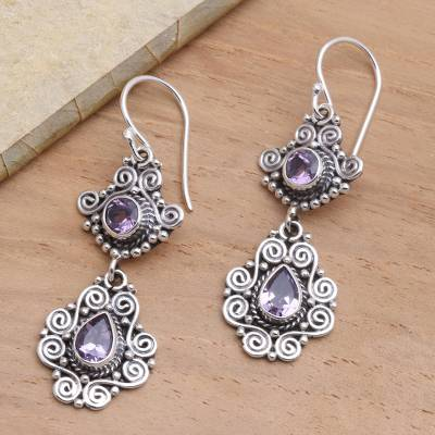 Amethyst dangle earrings, Garden Charm