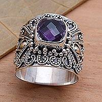 Gold accent amethyst cocktail ring, 'Lilac Checkerboard Window' - Bali Gold Accent Silver and Checkerboard Amethyst Ring