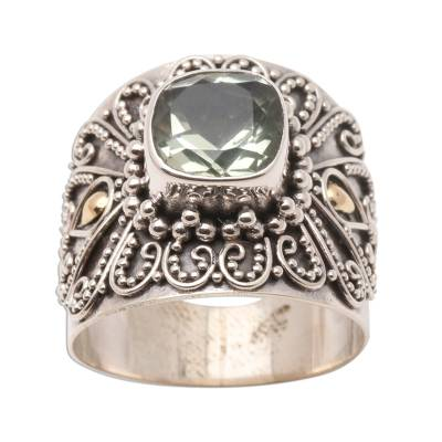 Bali Gold Accent Silver and Checkerboard Prasiolite Ring