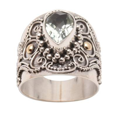 Ornate Balinese Silver and Prasiolite Ring with Gold Accents