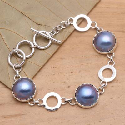 Cultured mabe pearl link bracelet, Blue Moon Nights