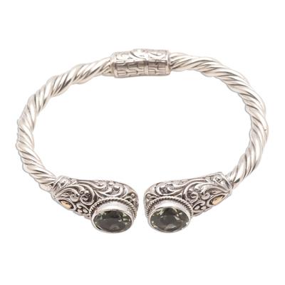 Prasiolite Gold-Accented Silver Cuff Bracelet