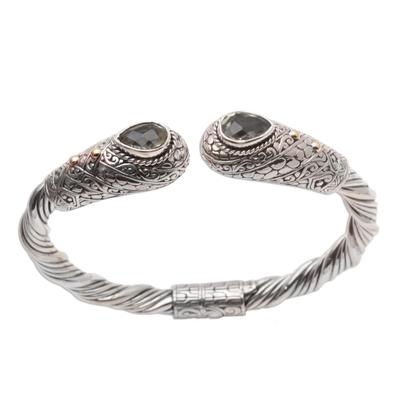 Gold-Accented Prasiolite Cuff Bracelet from Bali
