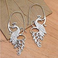 Sterling silver drop earrings, 'Peacock Style' - Peacock Sterling Silver Drop Earrings