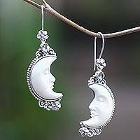 Blue topaz and bone dangle earrings, 'Sleepy Crescent Moon'