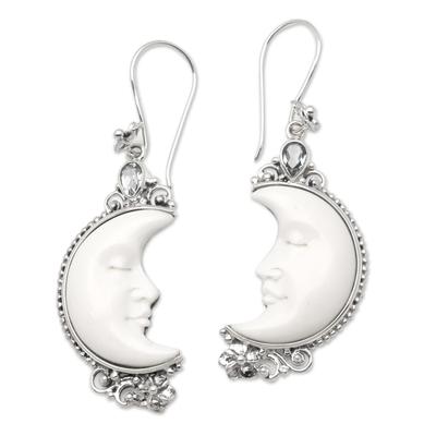Blue topaz and bone dangle earrings, 'Sleepy Crescent Moon' - Blue Topaz and Bone Moon Earrings