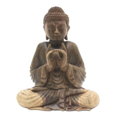 Hand Carved Buddha Hibiscus Wood Sculpture