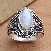 Rainbow moonstone cocktail ring, 'Crown Jewel' - Sterling Silver and Rainbow Moonstone Cocktail Ring