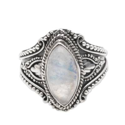 Sterling Silver and Rainbow Moonstone Cocktail Ring