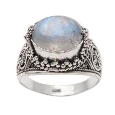 Elegant Rainbow Moonstone and Sterling Silver Ring