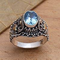 Blue topaz cocktail ring, 'Highland Lake' - Gold Accented Blue Topaz Cocktail Ring