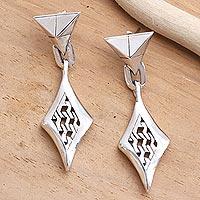 Sterling silver dangle earrings, 'Bold Kingdom' - Sterling Silver Post Dangle Earrings from Bali