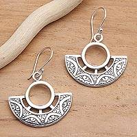Sterling silver dangle earrings, 'Enchanting Fans' - Elegant Engraved Sterling Silver Dangle Earrings
