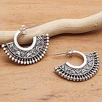Sterling silver half-hoop earrings, 'Tribal Instinct' - Unique Sterling Silver Half-Hoop Earrings