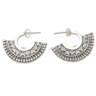 Sterling silver half-hoop earrings, 'Tribal Instinct' - Unique Sterling Silver Half-Hoop Earrings