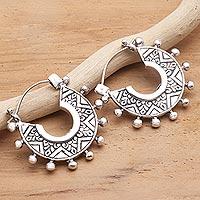 Sterling silver hoop earrings, 'Tribal Flair' - Hand Crafted Sterling Silver Hoop Earrings