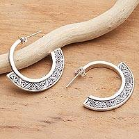 Sterling silver half-hoop earrings, 'Songket Curves' - Handmade Sterling Silver Half-Hoop Style Earrings