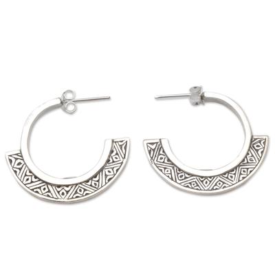 Sterling silver half-hoop earrings, 'Songket Curves' - Handmade Sterling Silver Half-Hoop Style Earrings