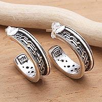Sterling silver half-hoop earrings, 'Traction' - Artisan Crafted Sterling Silver Half Hoop Earrings