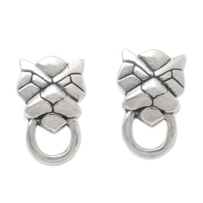 Sterling silver drop earrings, 'Jaguar Face' - Jaguar Face Sterling Silver Drop Earrings