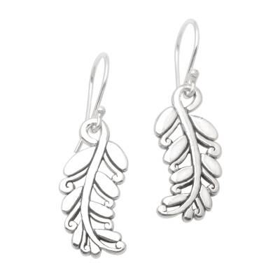 Sterling silver dangle earrings, 'Rice Stalks' - Detailed Rice Stalk Sterling Silver Earrings