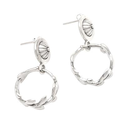 Sterling silver dangle earrings, 'Rice Wheels' - Leafy Rice Stalk Silver Dangle Earrings