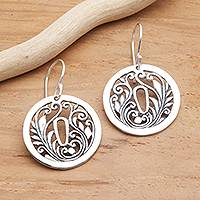 Sterling silver dangle earrings, 'Tsuba Motif' - Sterling Silver Japan-Inspired Dangle Earrings