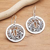 Sterling silver dangle earrings, 'Tsuba Motif' - Sterling Silver Japan-Inspired Dangle Earrings