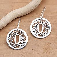 Sterling silver dangle earrings, 'Tsuba Protection' - Artisan Crafted Sterling Silver Japanese Style Earrings