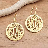 Gold plated sterling silver dangle earrings, 'Tsuba Protection'