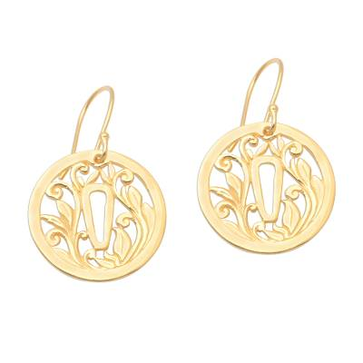 Gold plated sterling silver dangle earrings, 'Tsuba Protection' - Gold Plated Japanese Inspired Dangle Earrings