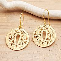 Gold plated sterling silver dangle earrings, 'Tsuba Strength'