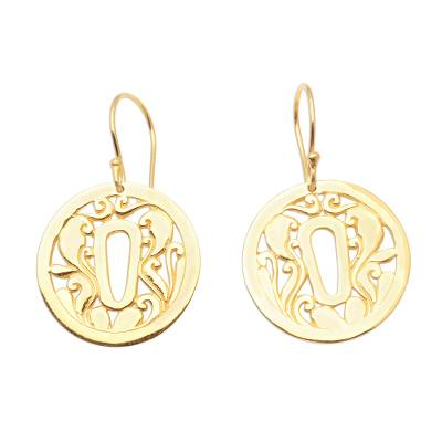 Gold plated sterling silver dangle earrings, 'Tsuba Strength' - Tsuba Motif 18k Gold Plated Dangle Earrings