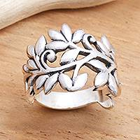 Sterling silver band ring, 'Rice Stalks'