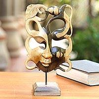 Hibiscus wood mask, 'Garden Goddess' - Hibiscus Wood Garden Goddess Display Masl=k