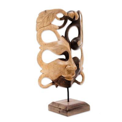 Hibiscus wood mask, 'Garden Goddess' - Hibiscus Wood Garden Goddess Display Masl=k