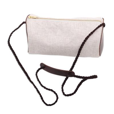Barrel-Shaped Cotton and Leather Shoulder Bag