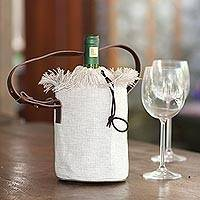 Wine bag, 'Vineyard Picnic' - Elegant Cotton and Leather Wine Tote Bag